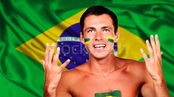 Foto d'archivio: Felice · fan · Brasile · bandiera · calcio