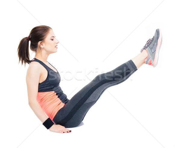 Jonge vrouw abdominaal jonge fitness vrouw vloer Stockfoto © deandrobot