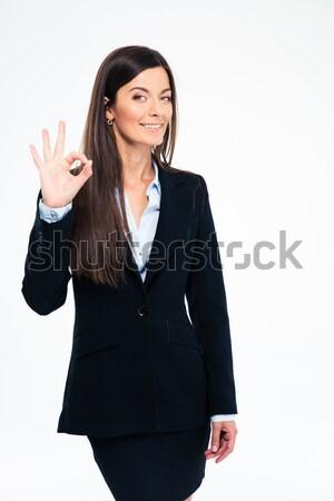 Foto stock: Feliz · mujer · de · negocios · signo · jóvenes
