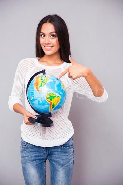 Stock foto: Glücklich · Hinweis · Finger · Welt · schauen
