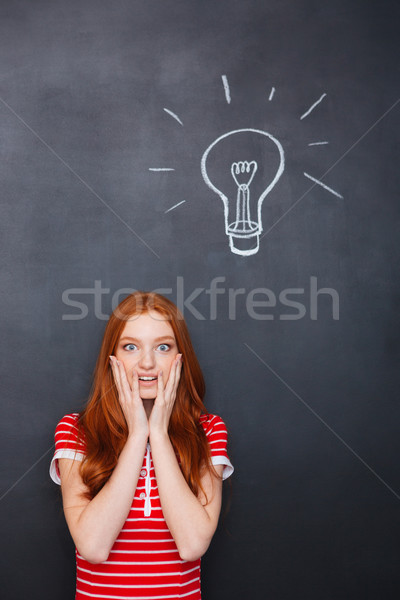 Amazed woman standing over chalkboard background with drawn electric bulb Stock photo © deandrobot