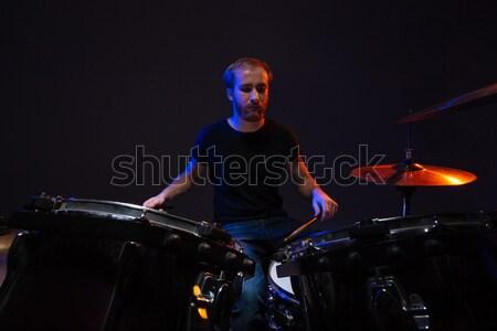 Jóképű szakállas férfi dobos ül dobok Stock fotó © deandrobot