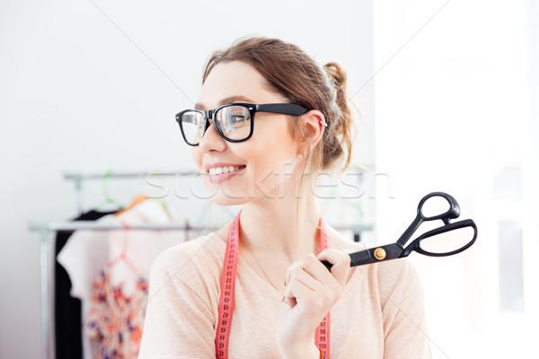 Boldog nő mosolyog tart olló terv Stock fotó © deandrobot