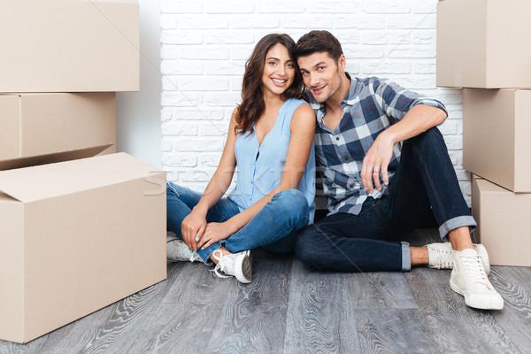 Boldog fiatal pér mozog új ház fiatal házaspár Stock fotó © deandrobot