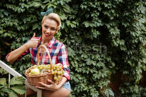 Wesoły pinup dziewczyna koszyka owoce Zdjęcia stock © deandrobot
