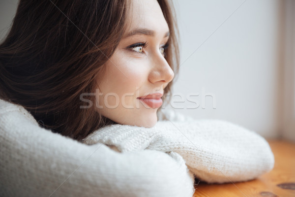 Close up woman in sweater near the window Stock photo © deandrobot