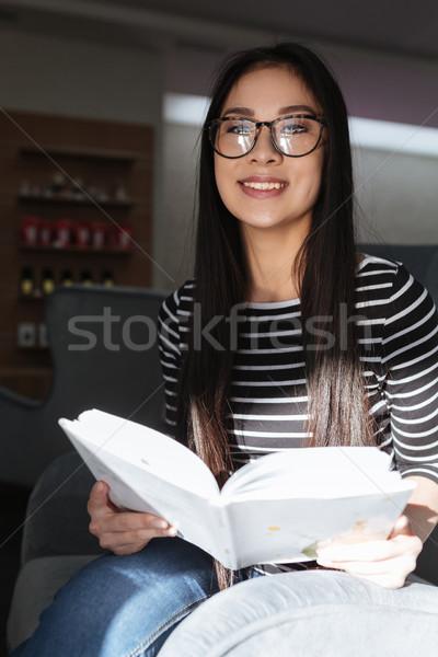 Stock fotó: Függőleges · kép · ázsiai · nő · szemüveg · könyv