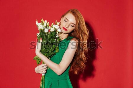 Foto stock: Retrato · mujer · tulipán · flores
