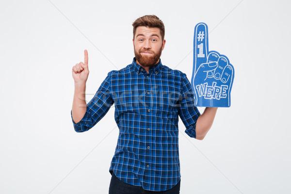 Pensativo confundirse hombre ventilador dedo mirando Foto stock © deandrobot