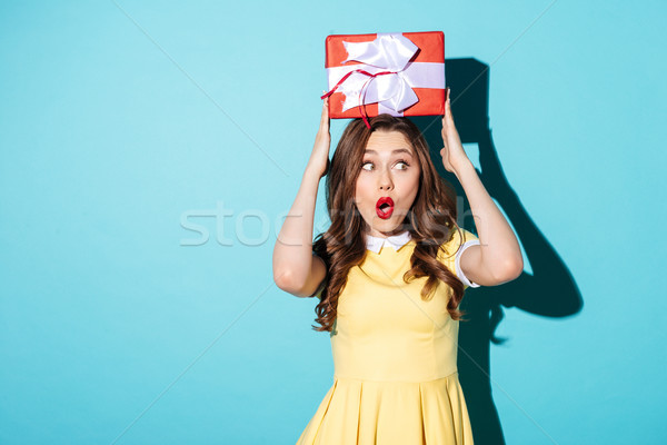 Portrait of a surprised shocked young woman in dress Stock photo © deandrobot