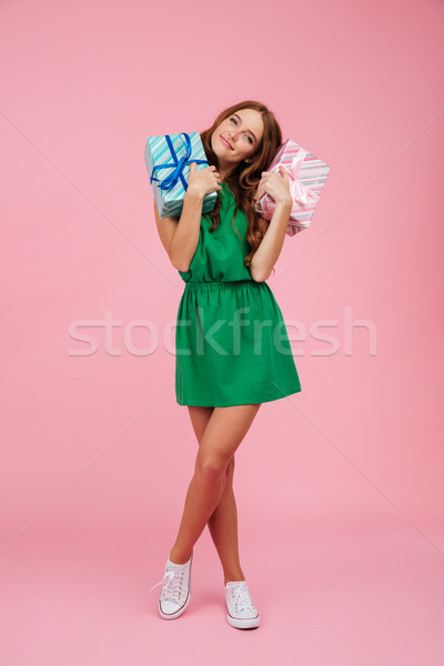 Teljes alakos portré csinos elégedett nő ruha Stock fotó © deandrobot