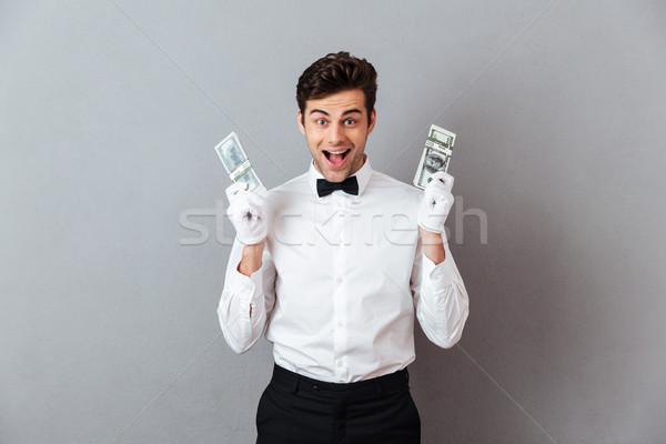 Foto stock: Retrato · feliz · exitoso · masculina · camarero
