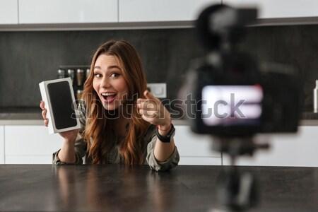 満足した 若い女の子 ビデオ ブログ 新しい ハイテク ストックフォト © deandrobot
