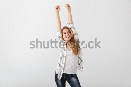 изображение счастливым женщину джинсовой одежды Сток-фото © deandrobot