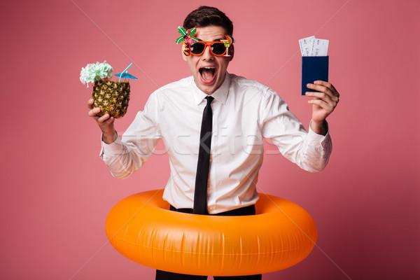 Stock fotó: Izgatott · boldog · fiatal · üzletember · gumi · gyűrű