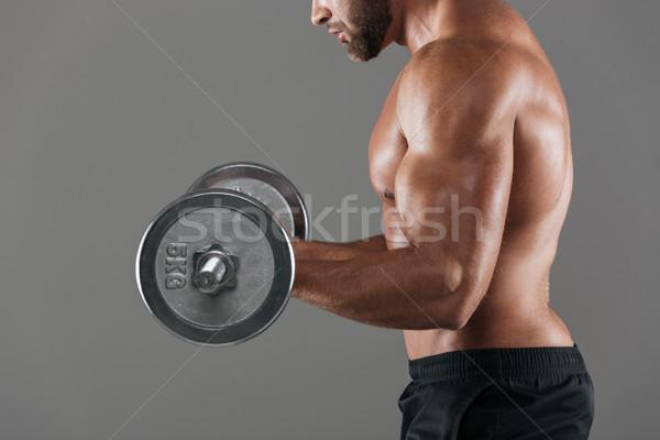 Photo stock: Vue · de · côté · image · musculaire · torse · nu · Homme · fort