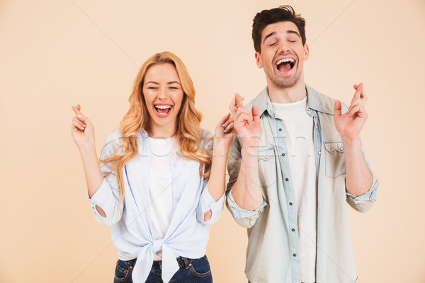 Portrait of caucasian people man and woman in basic clothing squ Stock photo © deandrobot