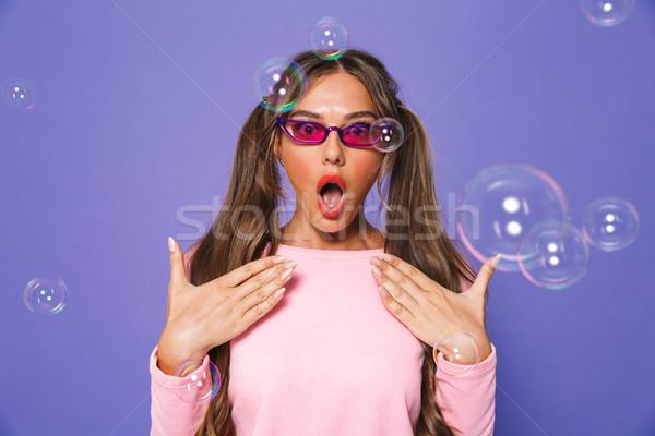 Portré izgatott tini nő kettő pulóver Stock fotó © deandrobot