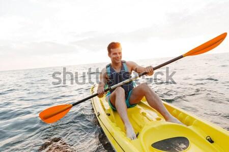 красивый мужчина озеро морем лодка изображение Сток-фото © deandrobot