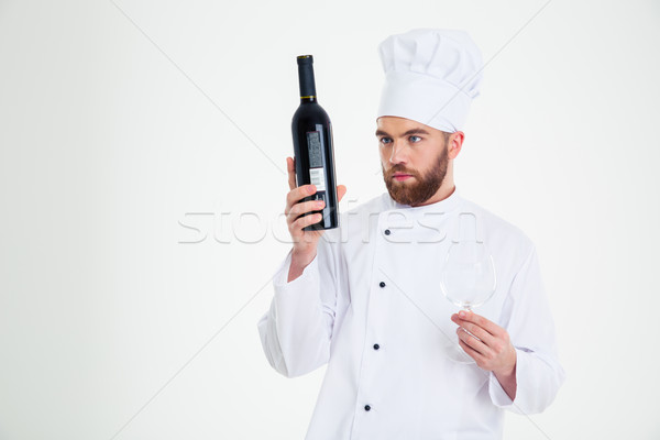 Homme chef Cook bouteille vin Photo stock © deandrobot