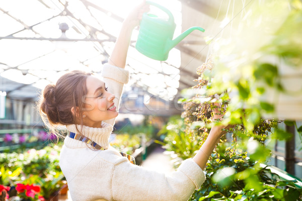 Cheerful woman gardener pouring flowers with watering can  Stock photo © deandrobot