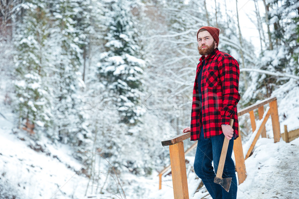 Handsome pensive man with axe standing in mountain winter forest Stock photo © deandrobot