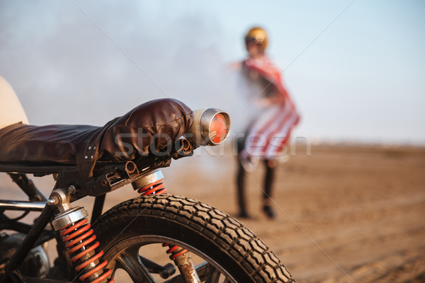 Close up of motorcycle wheel and flashlights Stock photo © deandrobot