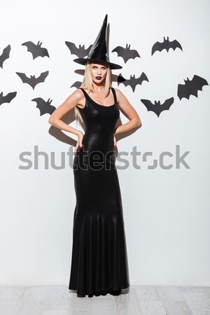 Attractive gothic young woman in witch costume with hat Stock photo © deandrobot