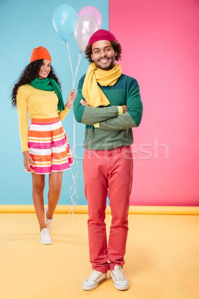 Feliz mulher balões caminhada data namorado Foto stock © deandrobot