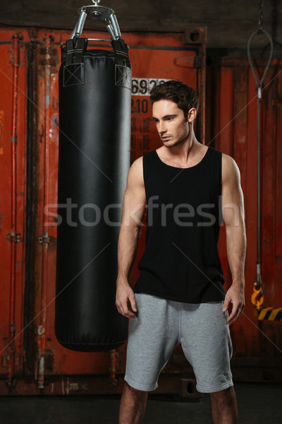 Seriously strong boxer training in a gym Stock photo © deandrobot