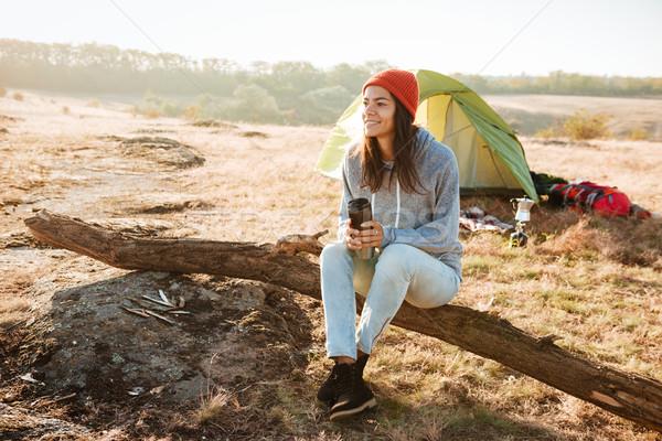 Woman near the tent Stock photo © deandrobot