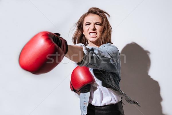 Donna boxer isolato bianco foto Foto d'archivio © deandrobot