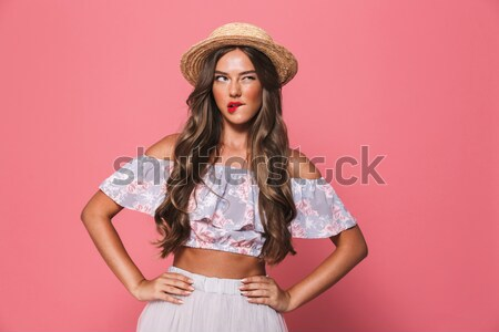 Vertical image of girl in underwear Stock photo © deandrobot