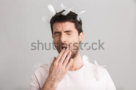 Megrémült üzletember befogja száját mindkettő kezek izolált Stock fotó © deandrobot