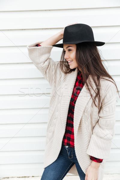 女性 ジャケット 帽子 ストックフォト © deandrobot
