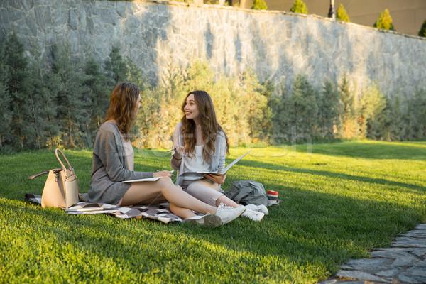 молодые две женщины сидят улице парка Сток-фото © deandrobot