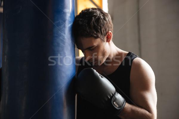 Pensativo boxeador pensando formación gimnasio Foto stock © deandrobot