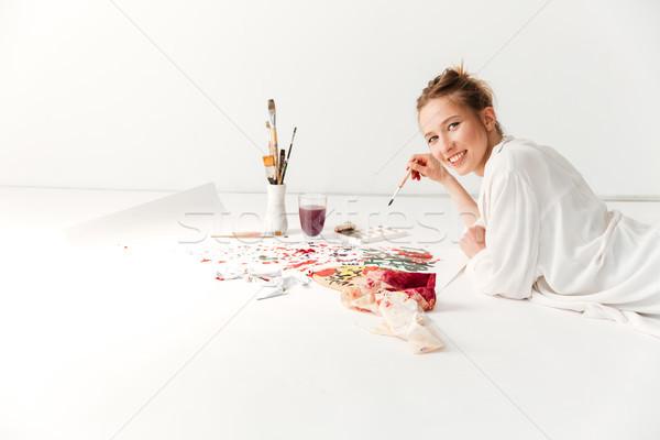 счастливым молодые кавказский Lady художника workspace Сток-фото © deandrobot
