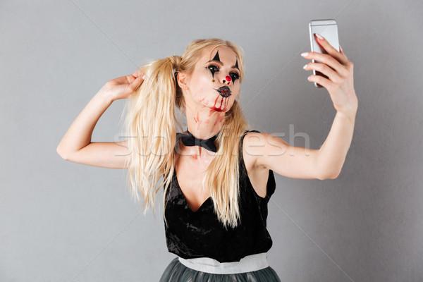 Beztroski halloween uzupełnić smartphone Zdjęcia stock © deandrobot