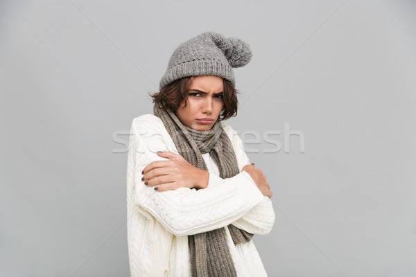 Retrato jóvenes congelado nina bufanda sombrero Foto stock © deandrobot