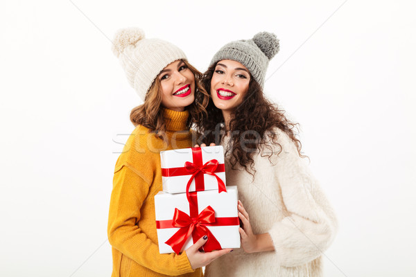 Two pleased girls in sweaters and hats standing together Stock photo © deandrobot