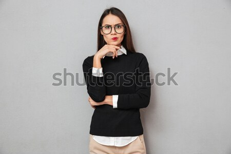 Sério pensativo asiático mulher negócio roupa Foto stock © deandrobot