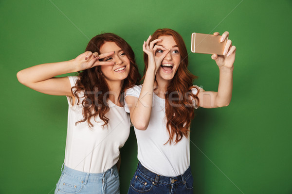 Image of two funny teen girls with ginger hair showing ok and pe Stock photo © deandrobot