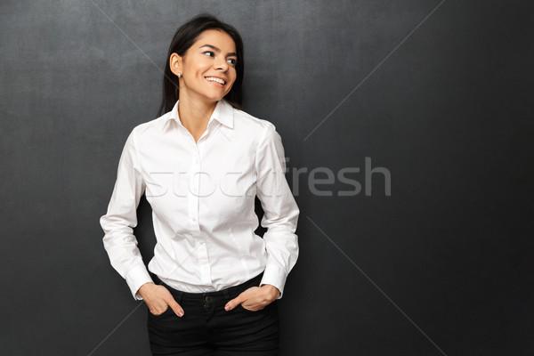 Kép derűs nő visel hivatalos mosolyog Stock fotó © deandrobot