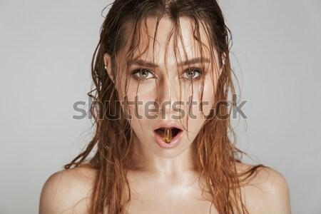 Zdjęcia stock: Moda · portret · topless · piękna · kobieta · makijaż · mokro