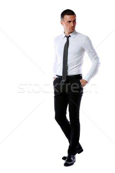 портрет бизнесмен изолированный белый бизнеса Сток-фото © deandrobot