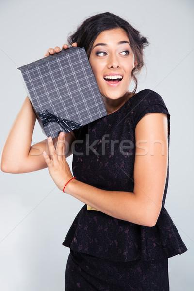 черное платье шкатулке смеясь серый Сток-фото © deandrobot