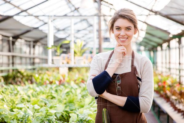Happy beautiful woman gardener standing in greenhouse Stock photo © deandrobot