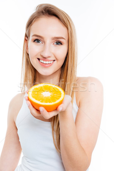 Stok fotoğraf: Gülen · güzel · bir · kadın · turuncu · bakıyor · kamera
