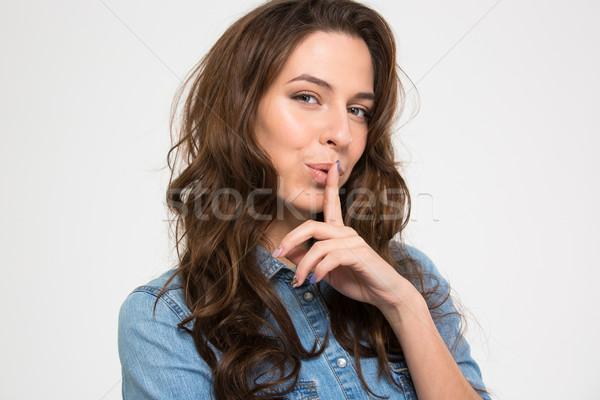 женщину пальца губ красивая женщина изолированный Сток-фото © deandrobot